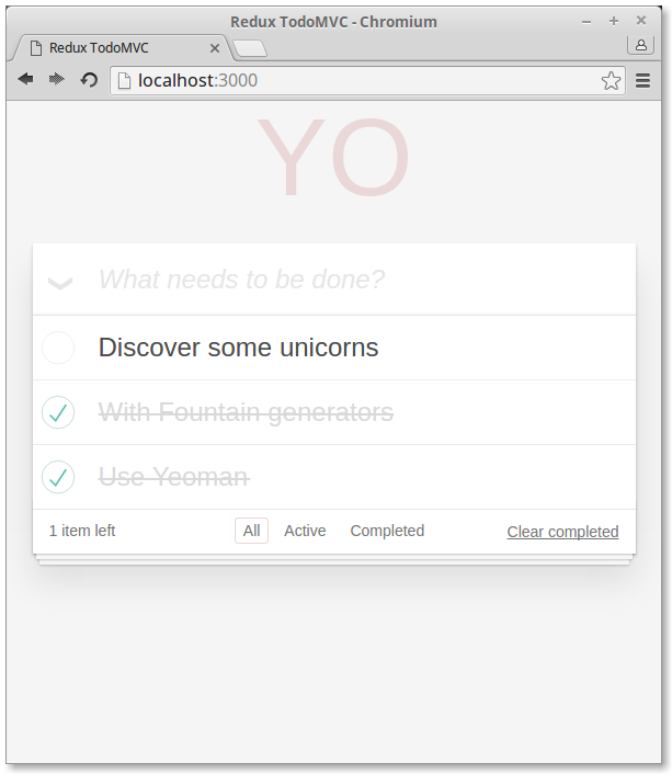Finished TodoMVC app