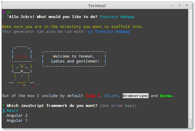 Step 3: Use a generator to scaffold out your app | Yeoman